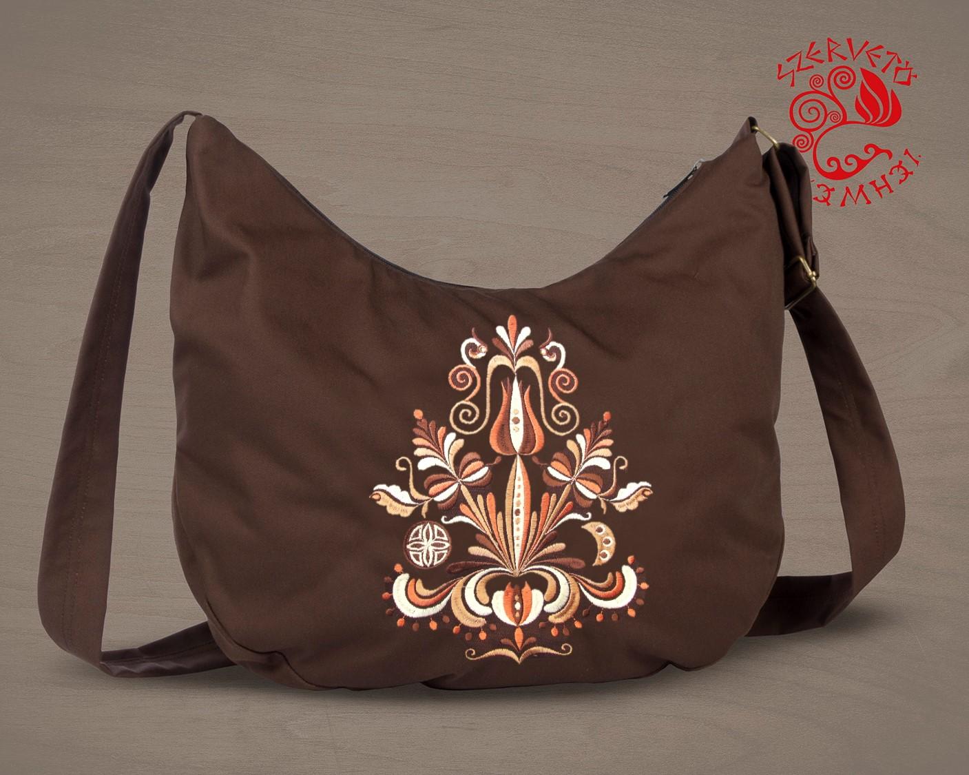 Szervető jászsági, hímzett félhold táska barna
