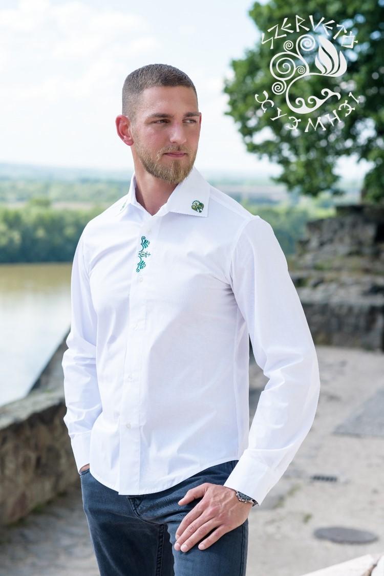 f8f2a3577e Szervető-jászsági ing - fehér-zöld | Férfi ingek | Szervető webáruház