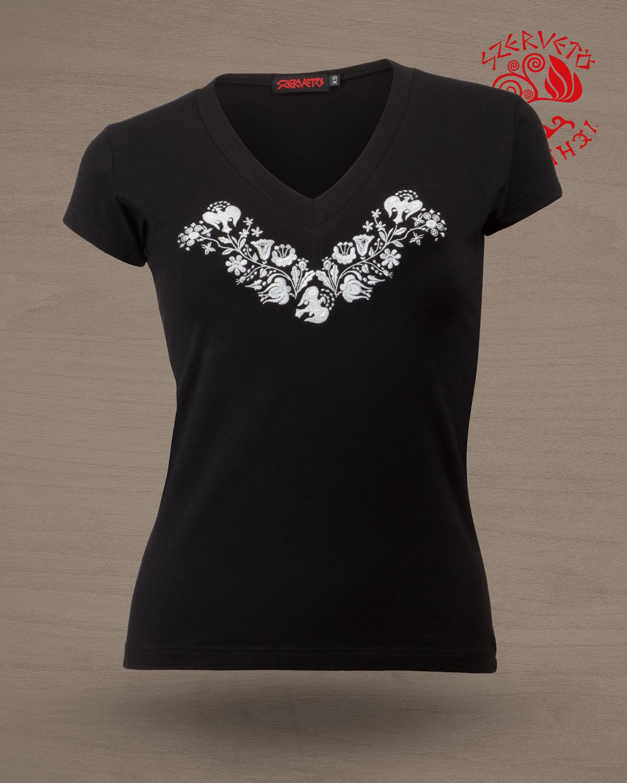 09dd79bb20 Szervető-kalocsai, hímzett, V nyakú, női póló - fekete-fehér | Női ...
