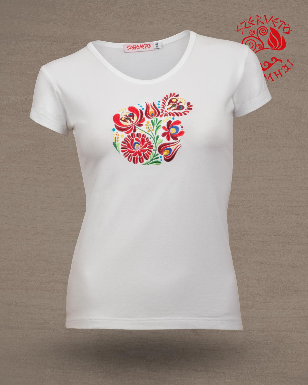37078bf41f Szervető-matyó, hímzett, O nyakú, női póló - fehér | Női pólók ...